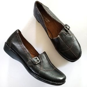 Naturalizer black leather loafers flats slip ons